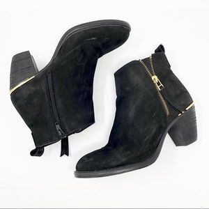 Steve Madden WHENDY Black Suede Gold Ankle Boots